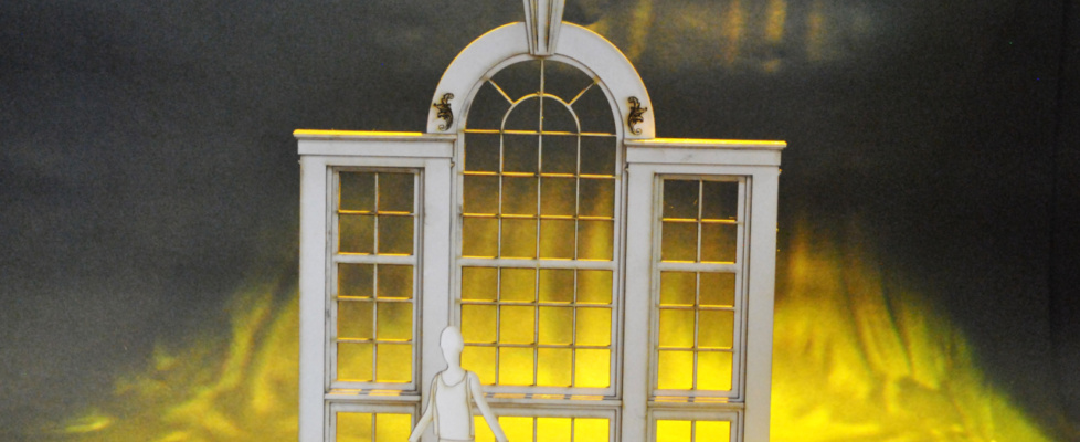 Palladian window in model box
