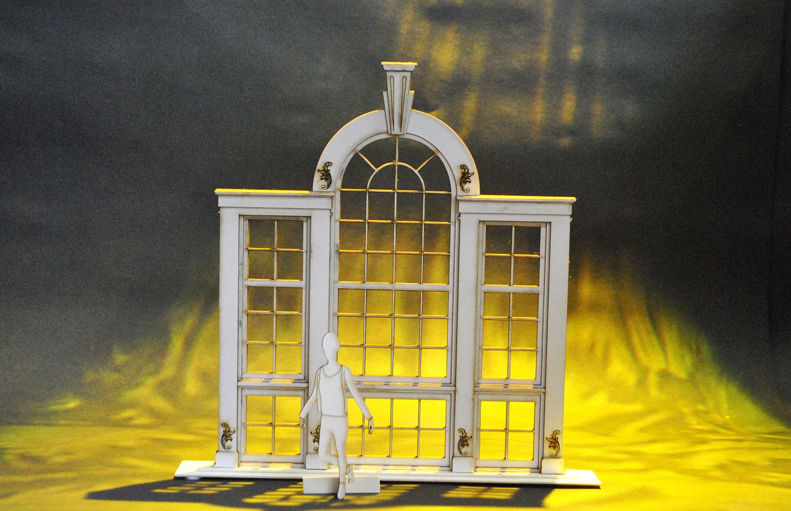 Palladian window in model box